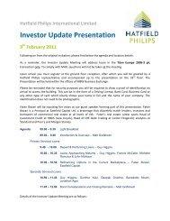 Investor Meeting Agenda 9th Feb 2011 - Hatfield Philips
