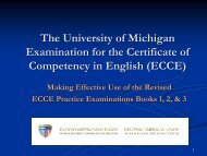 the university of michigan examination for the certificate