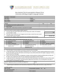 Non-standard Test Accommodations Request Form