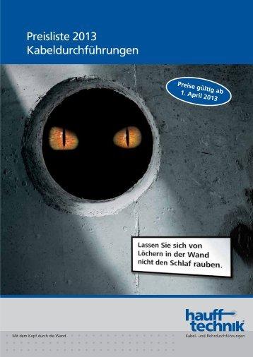 Preisliste 2013 Kabeldurchführungen - Hauff-Technik