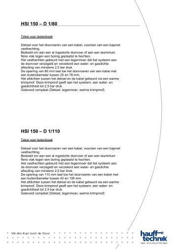 HSI 150 – D 1/110 - Hauff-Technik