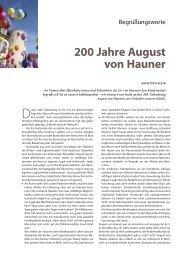 200 Jahre August von Hauner - Hauner Journal