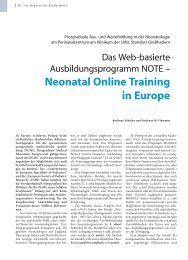 Neonatal online Training in europe - Hauner Journal