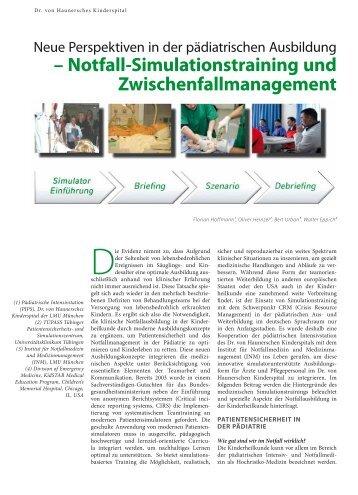 – Notfall-Simulationstraining und ... - Hauner Journal