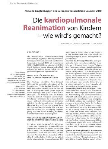 Die kardiopulmonale Reanimation von Kindern - Hauner Journal