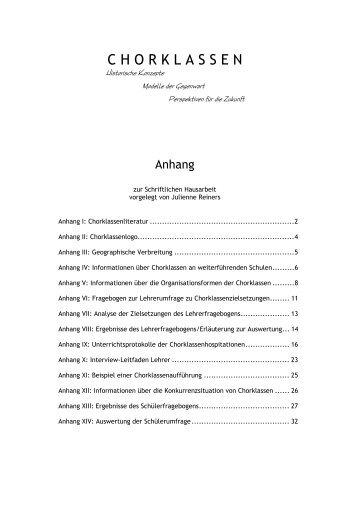 Chorklassen, Historische Konzepte - Modelle der Gegenwart
