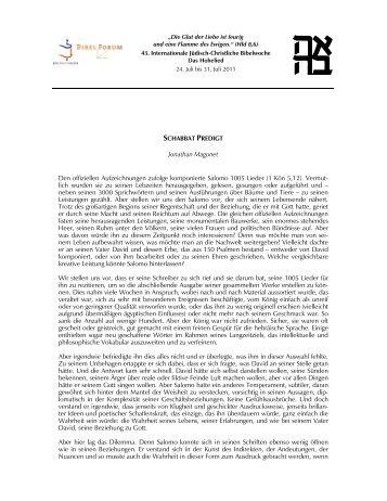 Jonathan Magonet Den offiziellen Aufzeichnungen ... - Haus Ohrbeck