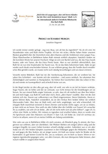 Jonathan Magonet: Predigt am Schabbat - Haus Ohrbeck