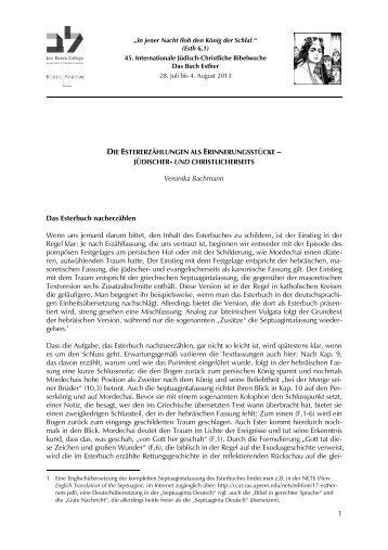 Veronika Bachmann: Die Estererzählungen als ... - Haus Ohrbeck
