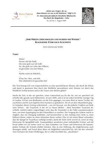 Victor Seidler: Klagelieder: Ethik nach Auschwitz - Haus Ohrbeck