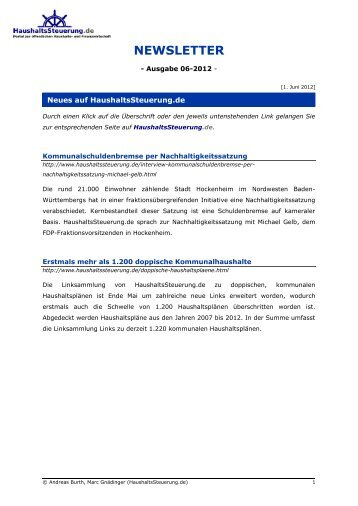 Newsletter - Ausgabe 06-2012 - HaushaltsSteuerung.de