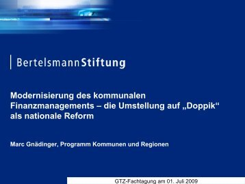 """die Umstellung auf """"Doppik"""" als nationale Reform"""