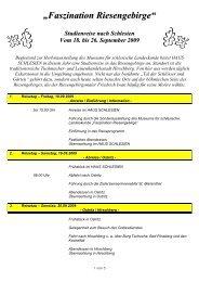 Reiseprogramm Riesengebirge - Haus Schlesien