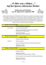 Reiseprogramm Dichterreise - Haus Schlesien