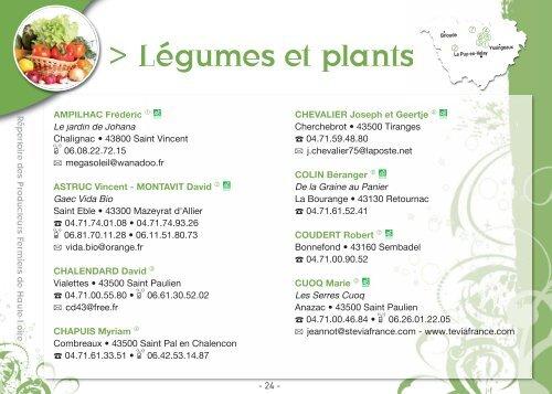 L gumes et plants chambre d 39 agriculture de la haute loire - Chambre d agriculture de la manche ...