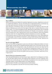Download Merkblatt MRSA - Havelland Kliniken Unternehmensgruppe