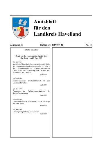 Amtsblatt für den Landkreis Havelland Jg. 16, Heft 15