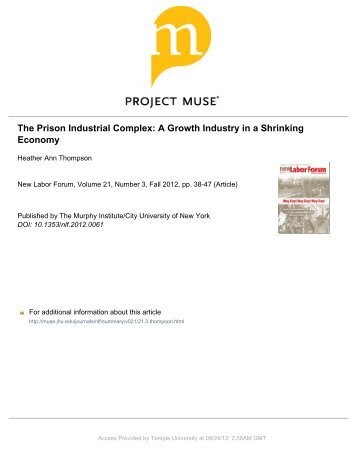 The Prison Industrial Complex: A Growth Industry in ... - Havens Center