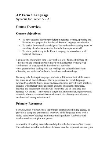 AP French Language Course Overview