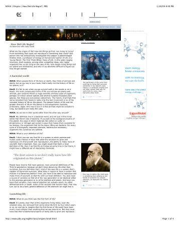 NOVA | Origins | How Did Life Begin? | PBS
