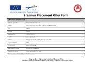 Erasmus Placement Offer Form