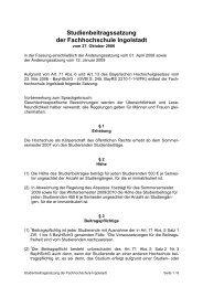 Studienbeitragssatzung der Fachhochschule Ingolstadt