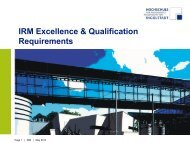 IRM Excellence & Qualification Requirements