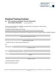 Practical Training Contract - Hochschule Ingolstadt