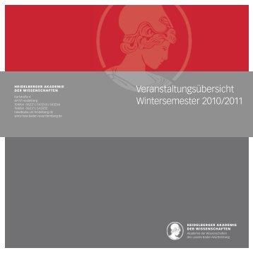 Veranstaltungsübersicht Wintersemester 2010/2011 - Heidelberger ...