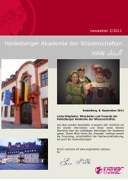 newsletter 2/2011 - Heidelberger Akademie der Wissenschaften