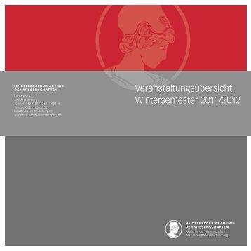 Veranstaltungsübersicht Wintersemester 2011/2012 - Heidelberger ...