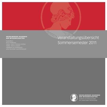 Veranstaltungsübersicht Sommersemester 2011 - Heidelberger ...