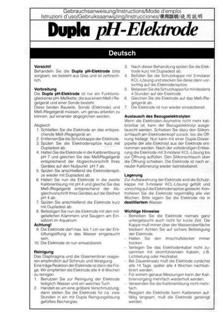 Gebrauchsanweisung / pH-Elektroden-Set - Dohse Aquaristik KG