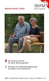 Betreuer-Brief 1/2012 - Neues aus den SKFM-Vereinen