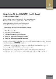 Bewerbung für den HAWARD® Health Award - Informationsblatt -