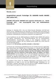 Preisträger für HAWARD Health AWARD 2011 stehen fest.