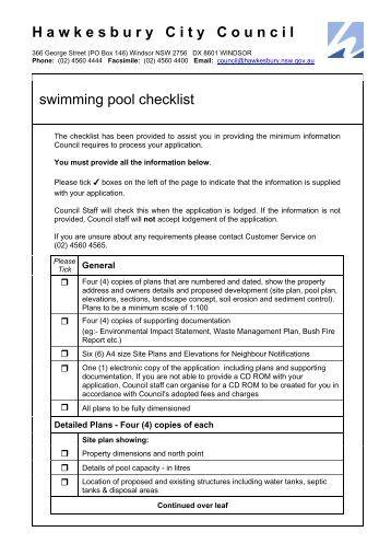 Swimming Pool Pre Opening Checklist Washtenaw County