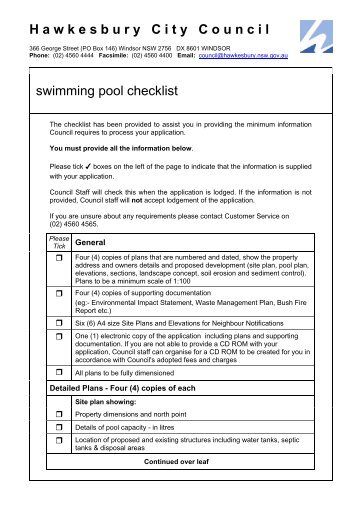 Swimming Pool Processing And Vetting Checklist