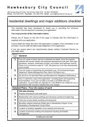 Residential Dwellings And Major Additions - Checklist - Hawkesbury ...