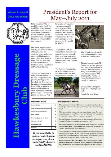 Newsletter Edition 2 - July 2011 - Hawkesbury Dressage Club Inc
