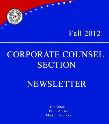 corporate counsel section newsletter - Haynes and Boone, LLP