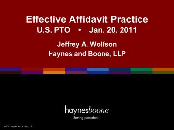 Effective Affidavit Practice - Haynes and Boone, LLP