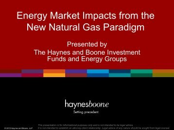 Energy Market Impacts from the New Natural Gas Paradigm