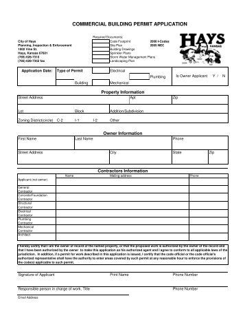 Commercial Building Permit - The City of Hays, Kansas