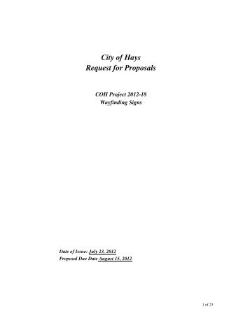 City of Hays Request for Proposals - The City of Hays, Kansas