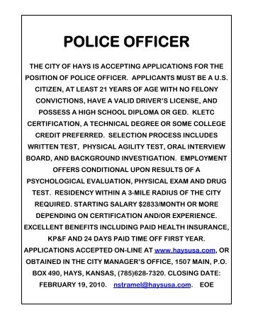 POLICE OFFICER - The City of Hays, Kansas