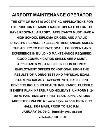airport maintenance operator - The City of Hays, Kansas