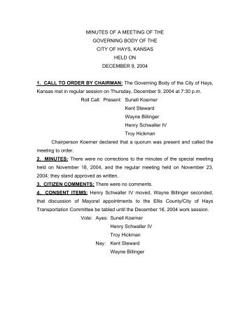 1. CALL TO ORDER BY CHAIRMAN: The Governing Body of the City