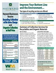 Commercial Recycling Services Summary - City of HAYWARD