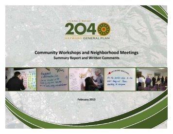 Community Workshops and Neighborhood ... - City of HAYWARD